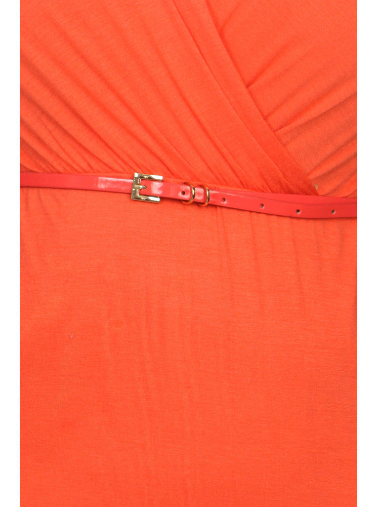 Plus Size Modish Surplice Belted Orange Dress