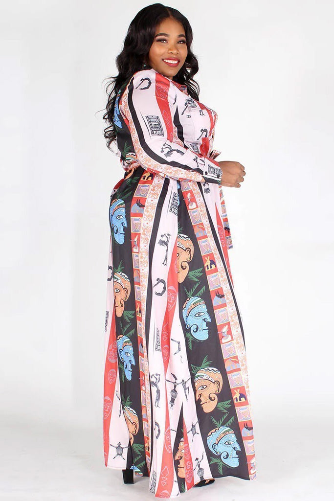 Plus Size Printed Long Sleeve Maxi Dress
