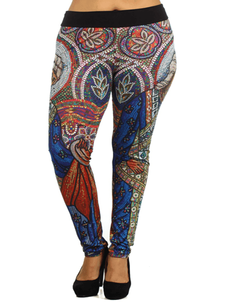 Plus Size Hot Stained Glass Leggings