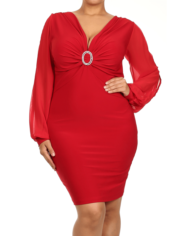 Plus Size Cut Out Sheer Sleeves Rhinestone Ring Red Dress