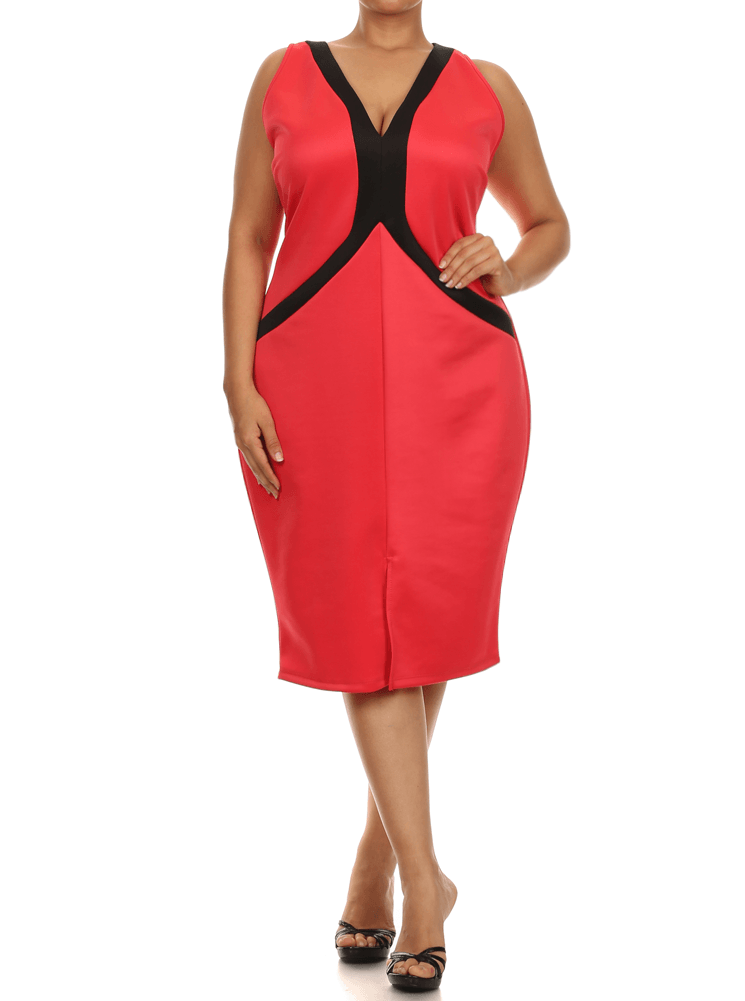 Plus Size Cross My Heart Colorblock Red Dress