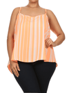 Plus Size Breezy Striped Orange Chiffon Top