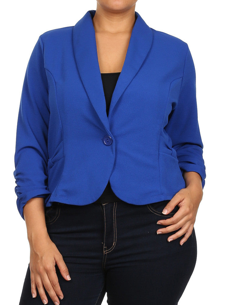 Plus Size Adorable Textured Bow Blue Blazer