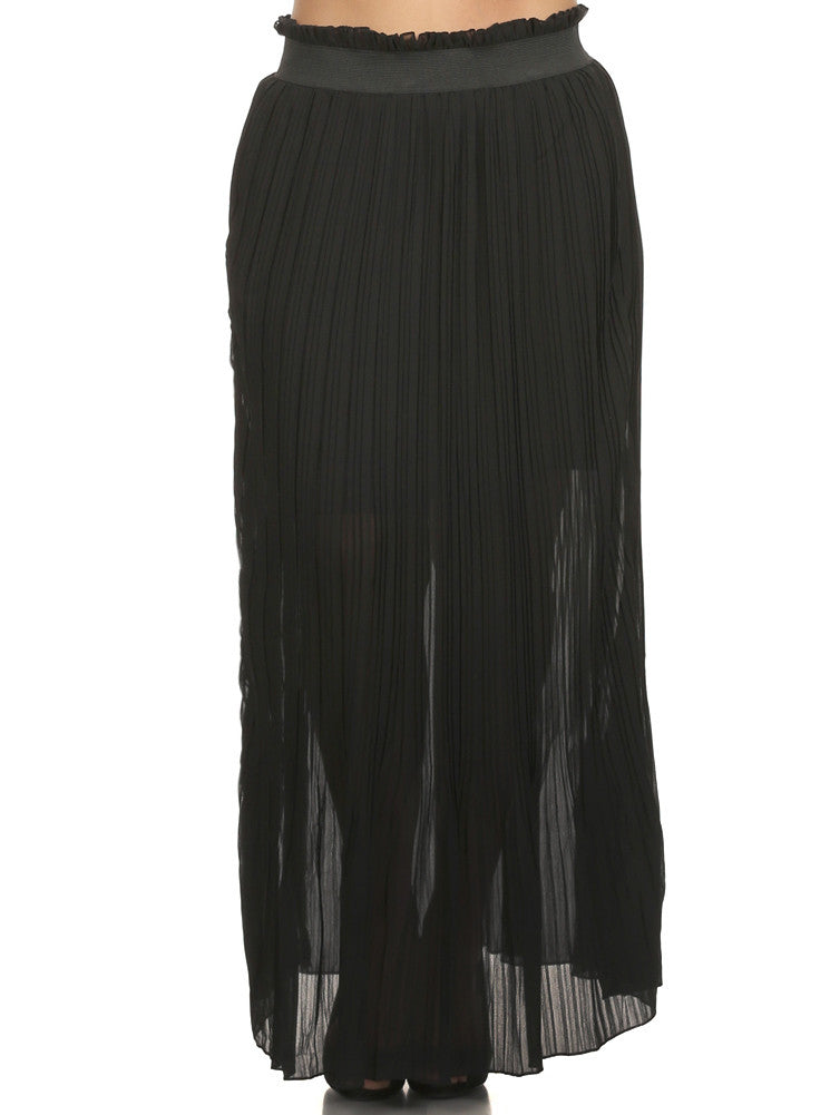 Plus Size High Waist Sheer Pleated Maxi Skirt