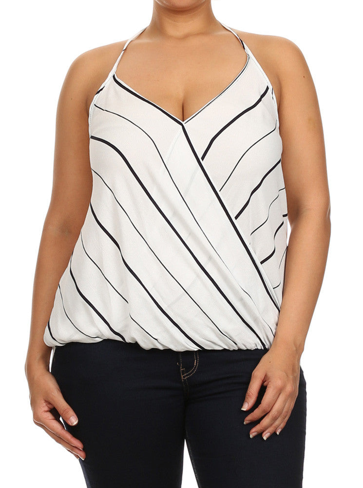 Plus Size Let's Play Striped Halter Neckline White Tank