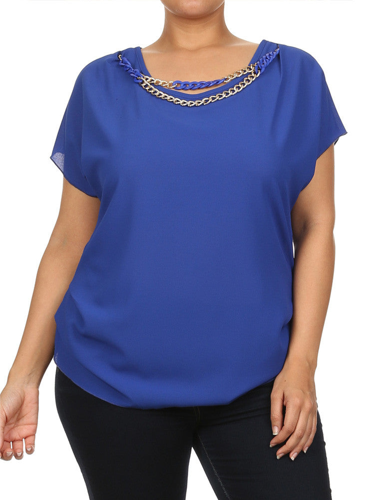 Plus Size Ravishing Chains Ruched Sheer Blue Top