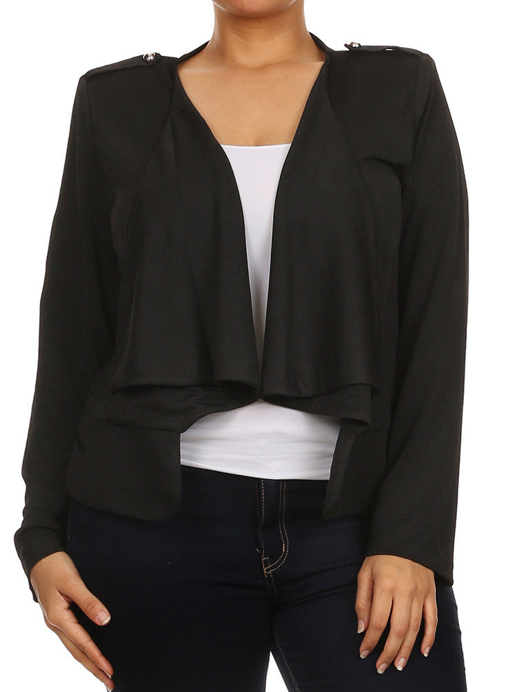 Plus Size Casual Friday Open Front Black Jacket