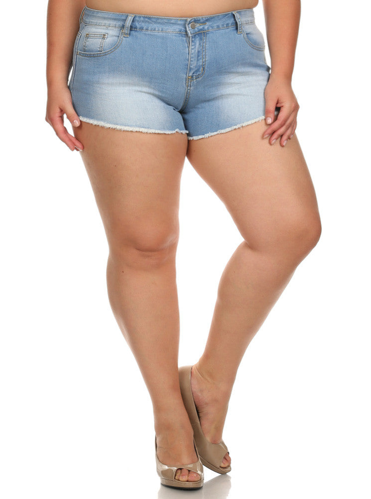 Plus Size Hot Faded Denim Cut Off Light Blue Shorts