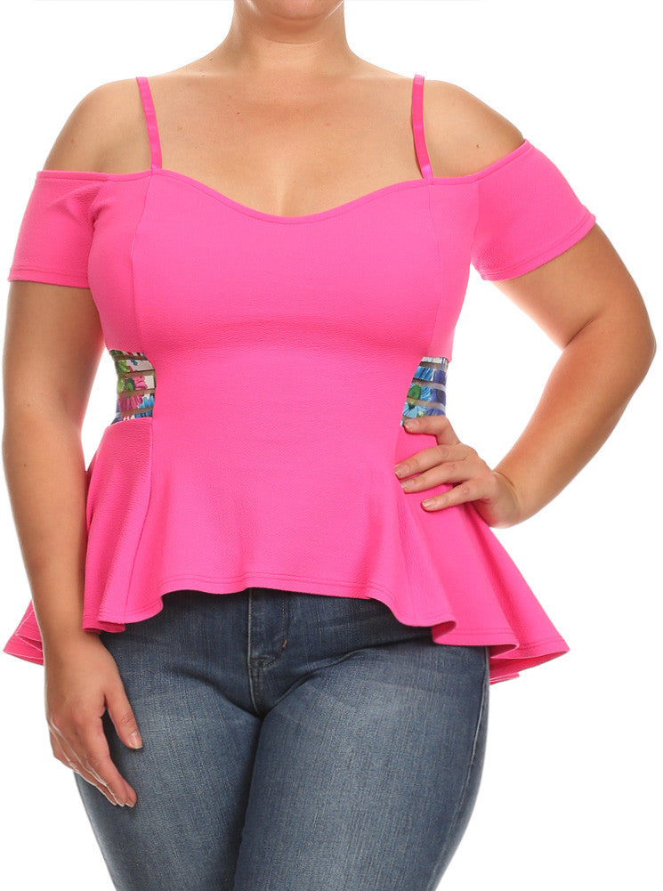 Plus Size Tropical Off Shoulder Pink Top