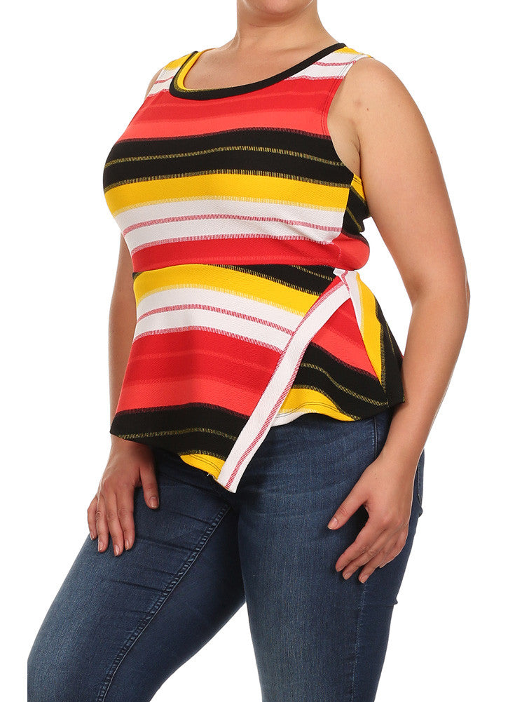Plus Size Striped Jagged Hem Peplum Yellow Top