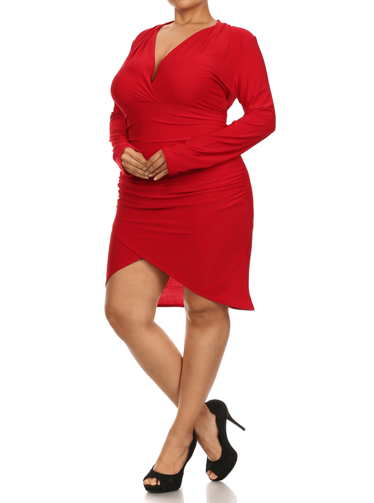 Plus Size Eternal Love Ruched Red Dress