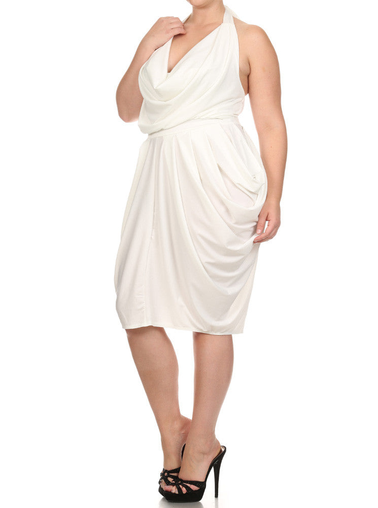 Plus Size Halter Cowl Neck V Hem White Dress