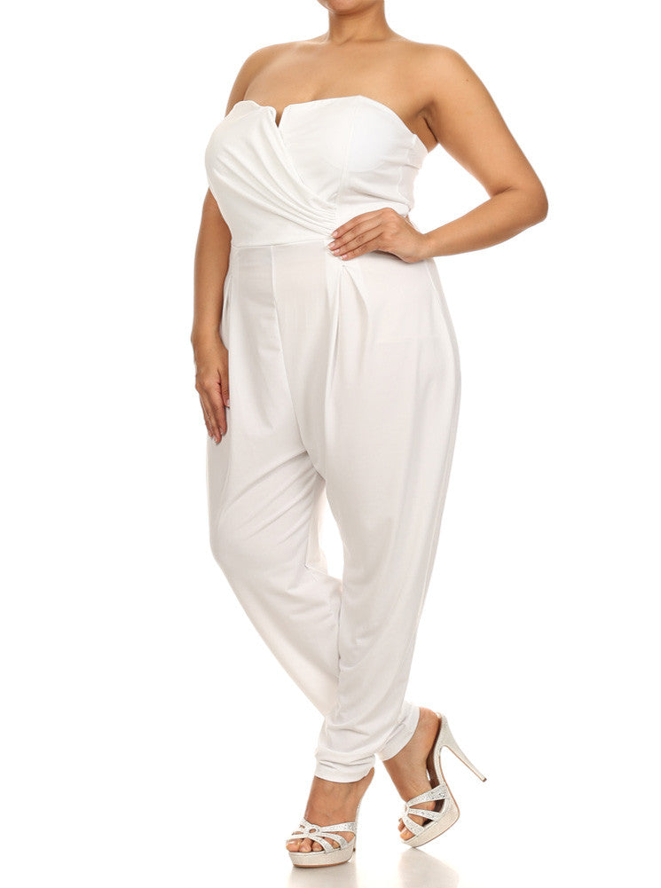 Plus Size Strapless Cross Over White Jumpsuit