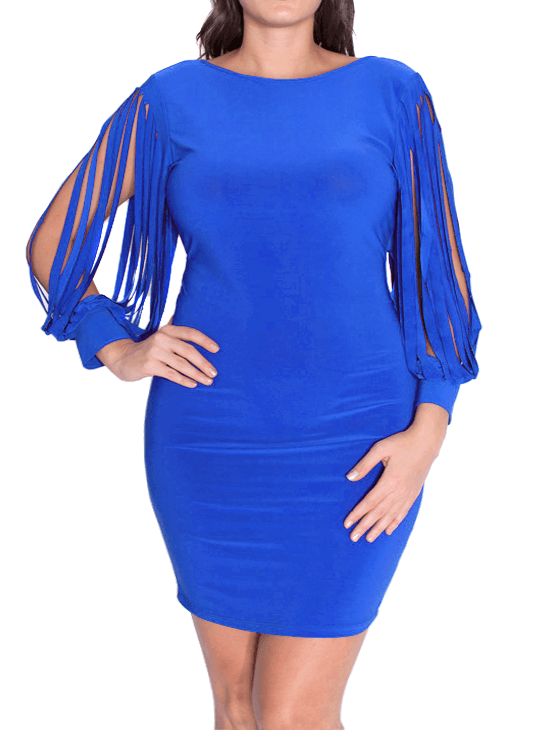 Plus Size Shredded Sleeves Blue Cocktail Dress