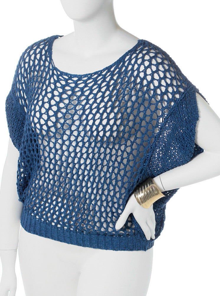Plus Size See Through Knitted Blue Tunic