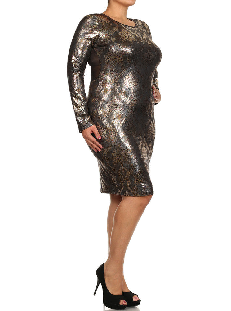 Plus Size Slick Victorian Print Mesh Gold Dress