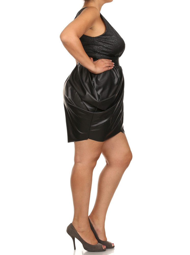 Plus Size Geometric Print Leather Black Bubble Dress