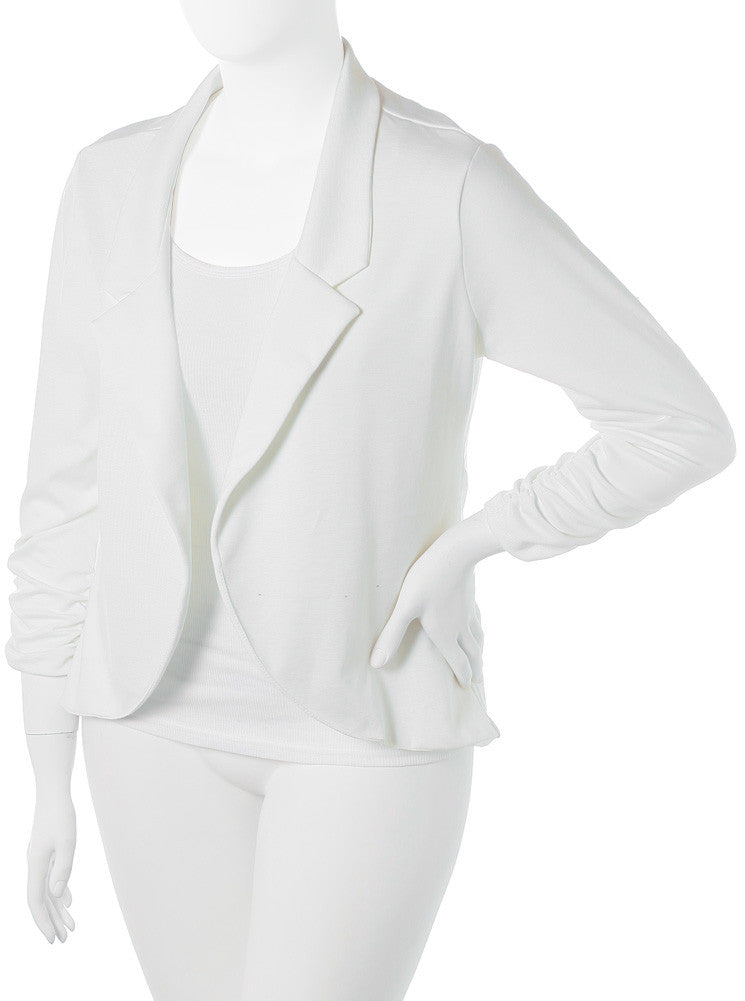 Plus Size Sleek Open Front White Blazer