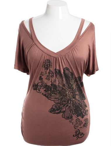 Plus Size Open Shoulder Flower Graphic V-Neck Brown Top