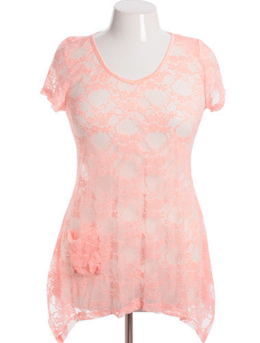 Plus Size See Through Lace Pink Tunic