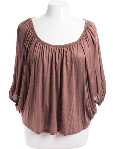 Plus Size Sexy Loose Pleat Taupe Top