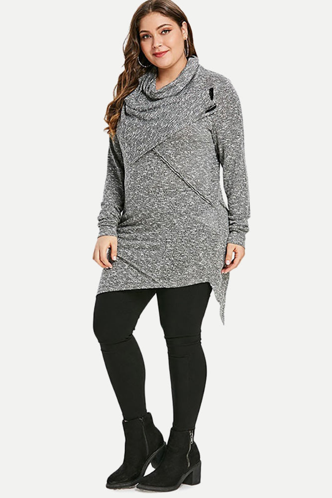 Plus Size Turtleneck Long Tunic Knitted Top