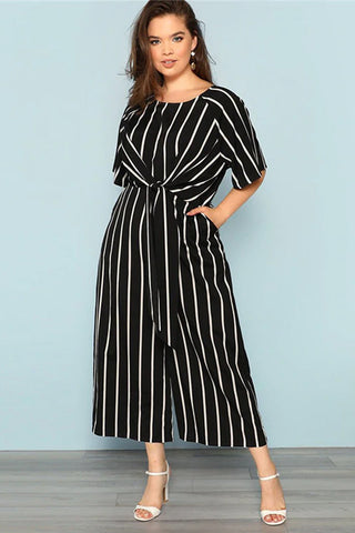 Plus Size Elegant Weekend Stripe Waist Tie Jumpsuit