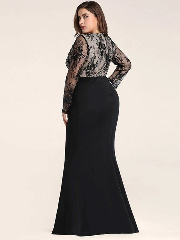 Plus Size Embroidery Mesh Panel Fishtail Maxi Dress