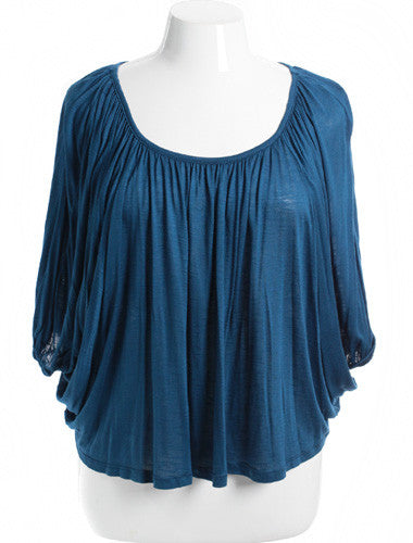 Plus Size Sexy Loose Pleat Blue Top
