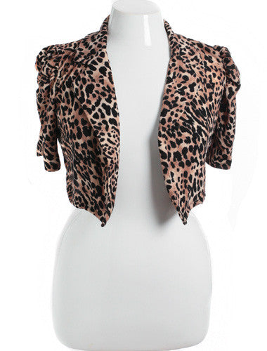 Plus Size Sexy Leopard Poof Shoulder Tan Jacket