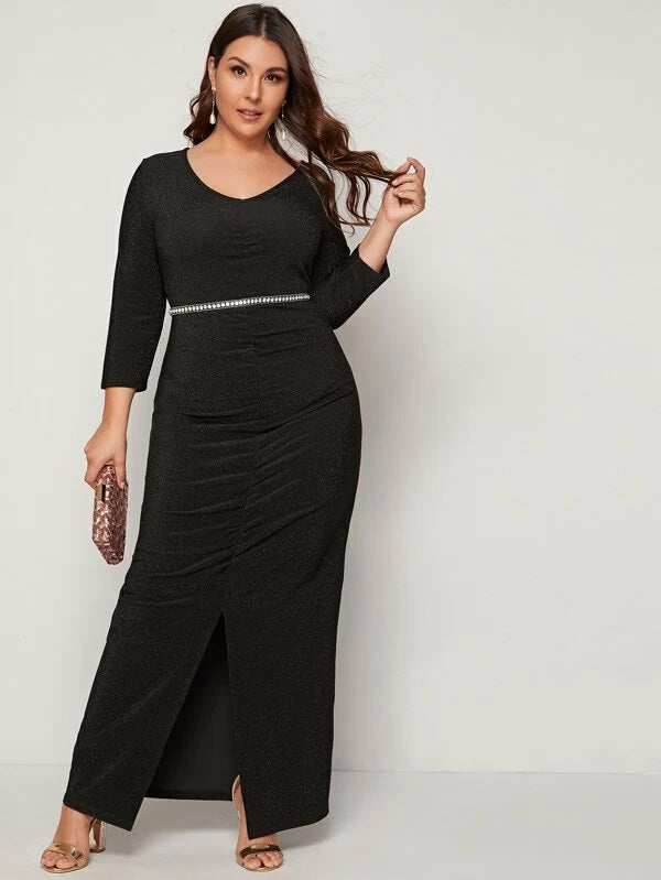 Plus Size Ruched Split Hem Glitter Dress Without Belt