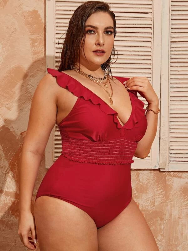 Plus Size Smocked Ruffle Trim One Piece Swimwear