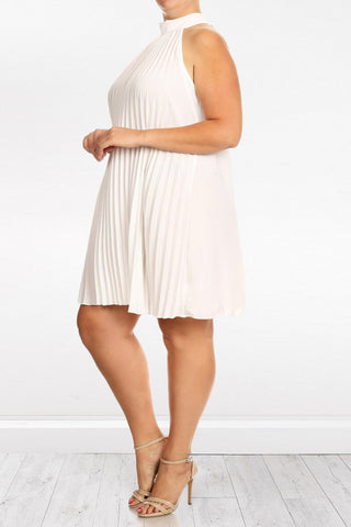 Relaxed Pleated Back Neck Tie Plus Size Dress