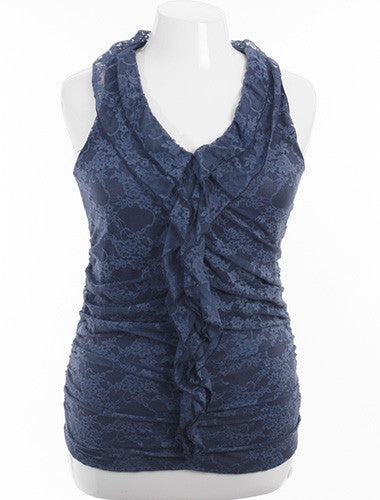 Plus Size Adorable Ruffled Lace Navy Blue Tank