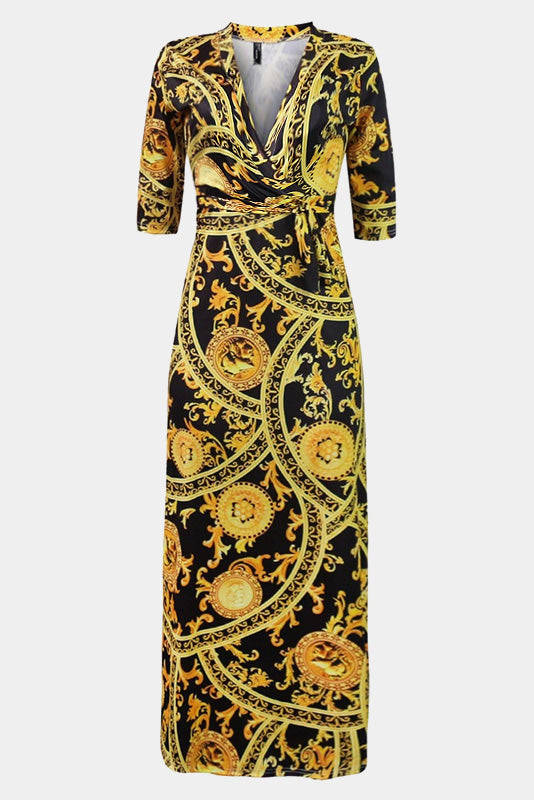 Plus Size Designer Gold Chain Bohemian Maxi Dress