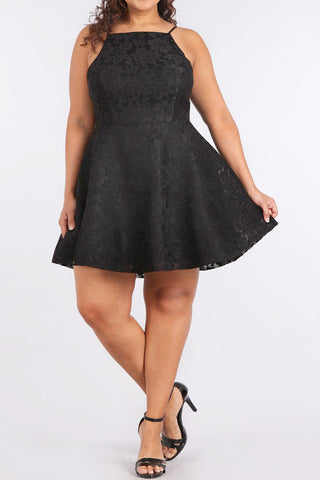 Detailed Texture Fit Flare Plus Size Dress