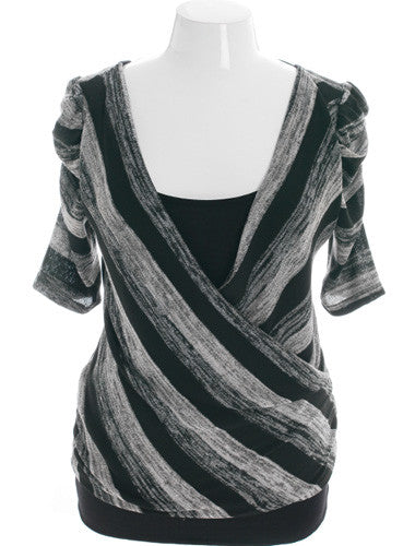 Plus Size Trendy Stripe Open Back Grey Top