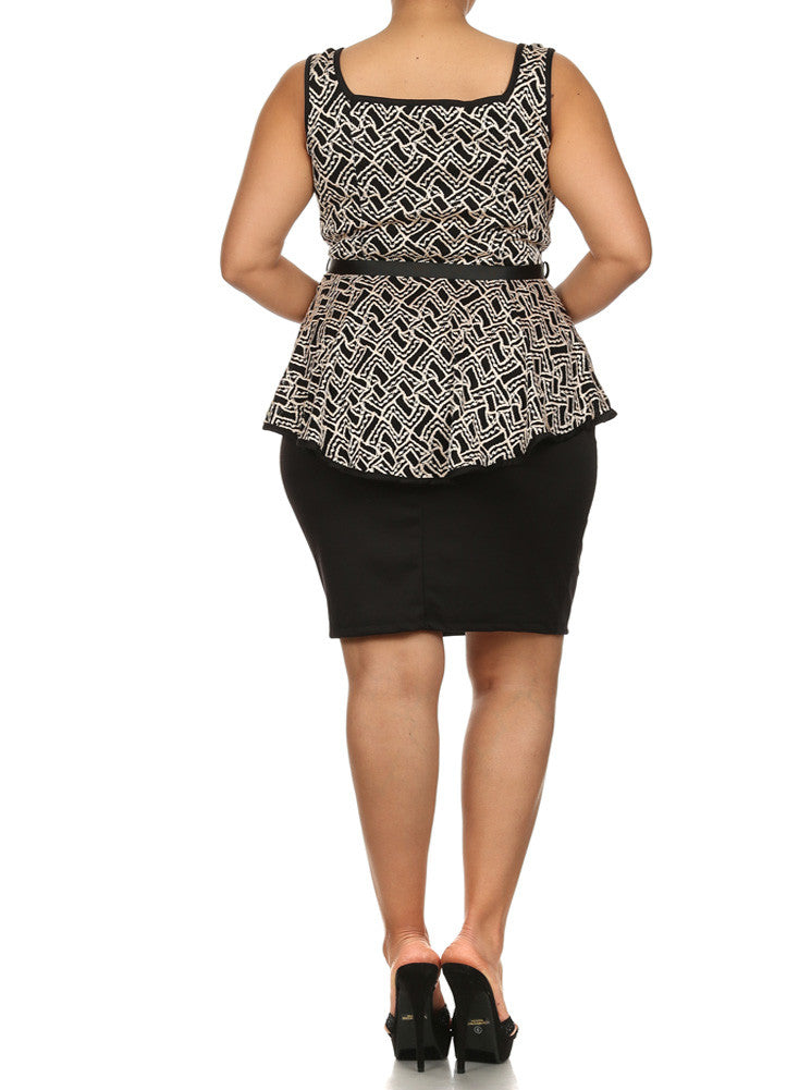 Plus Size Such A Charmer Textured Peplum Dress