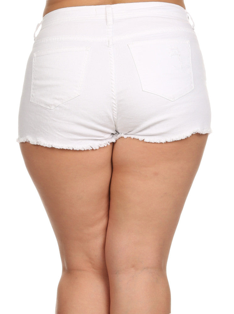 Plus Size Summer Lovin' Cut Off White Shorts