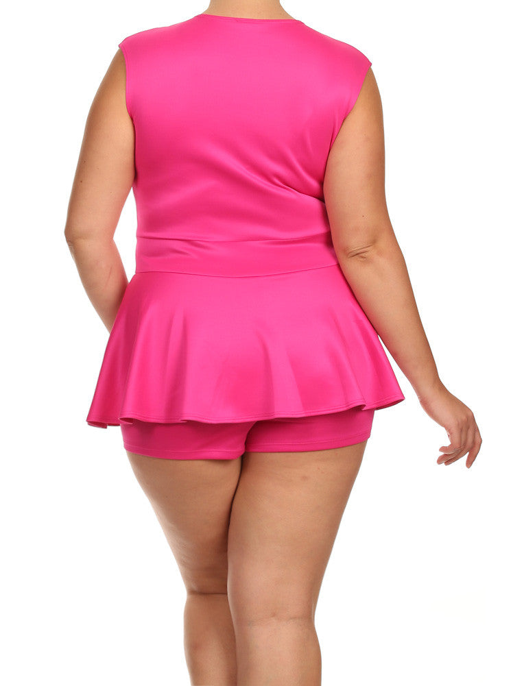 Plus Size Deep V Neck Peplum Pink Playsuit