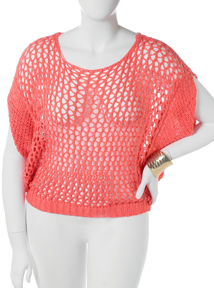 Plus Size See Through Knitted Coral Tunic