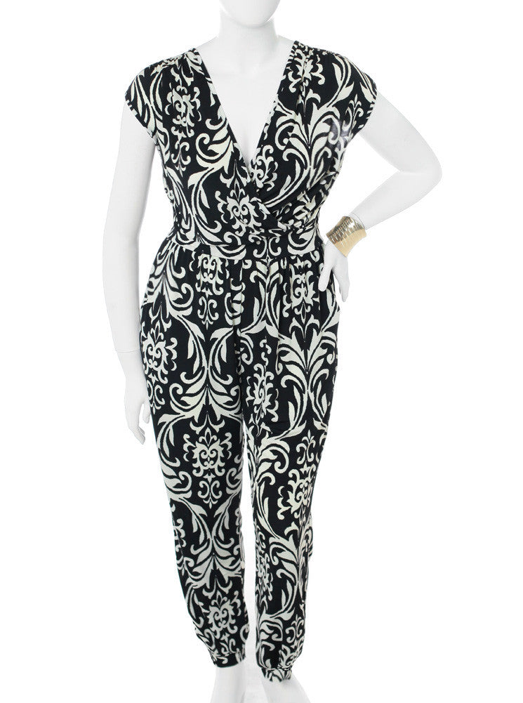 Plus Size Victorian Print Black White Jumpsuit