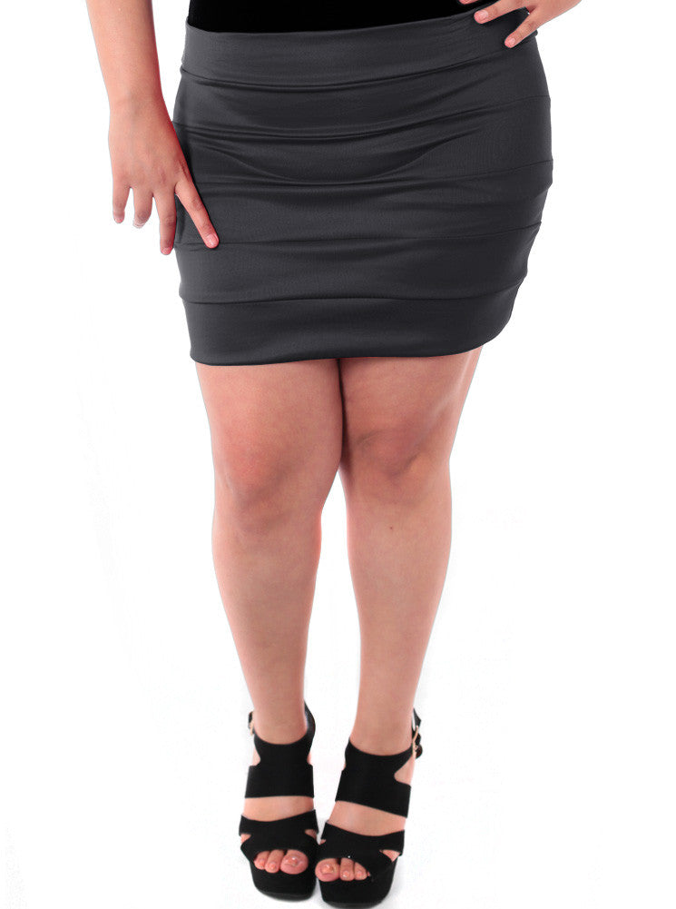 Plus Size Block Stripe Black Mini Skirt
