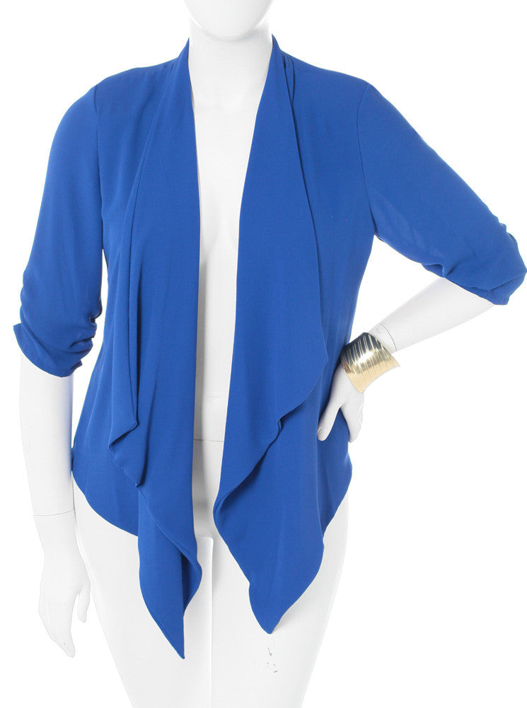 Plus Size Sexy Sheer Chiffon Blue Cardigan
