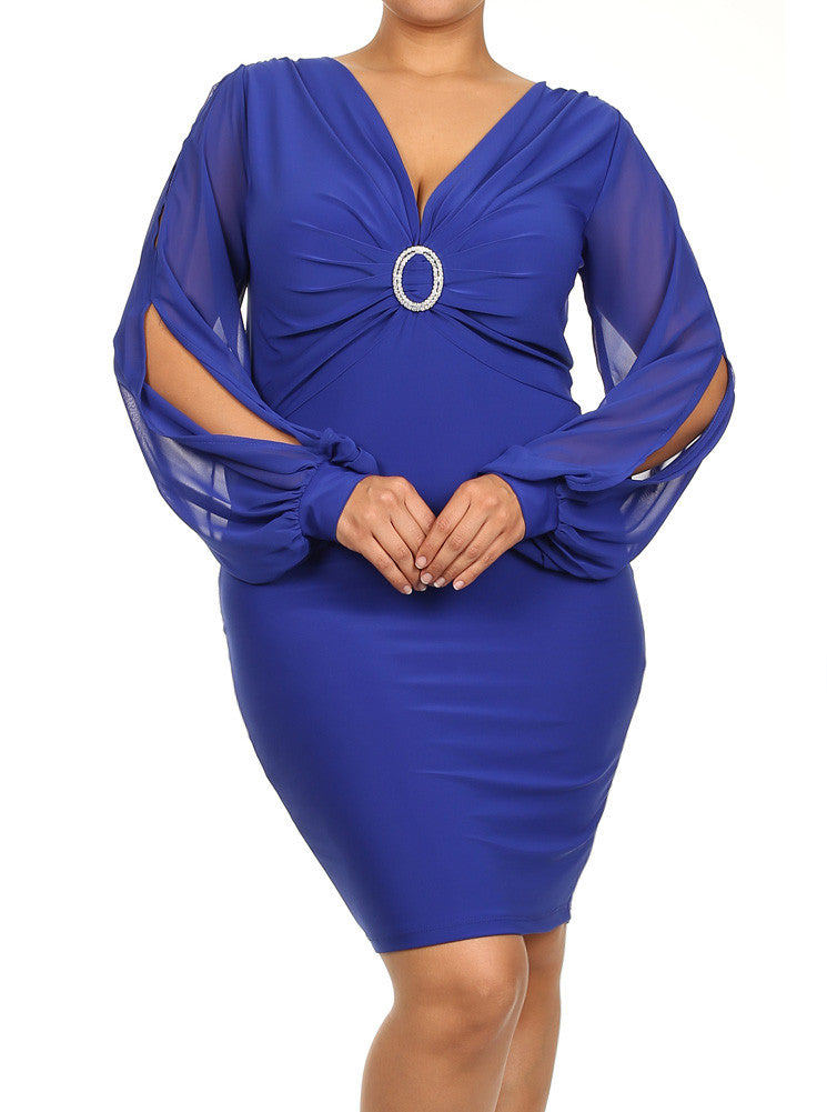 Plus Size Cut Out Sheer Sleeves Rhinestone Ring Blue Dress