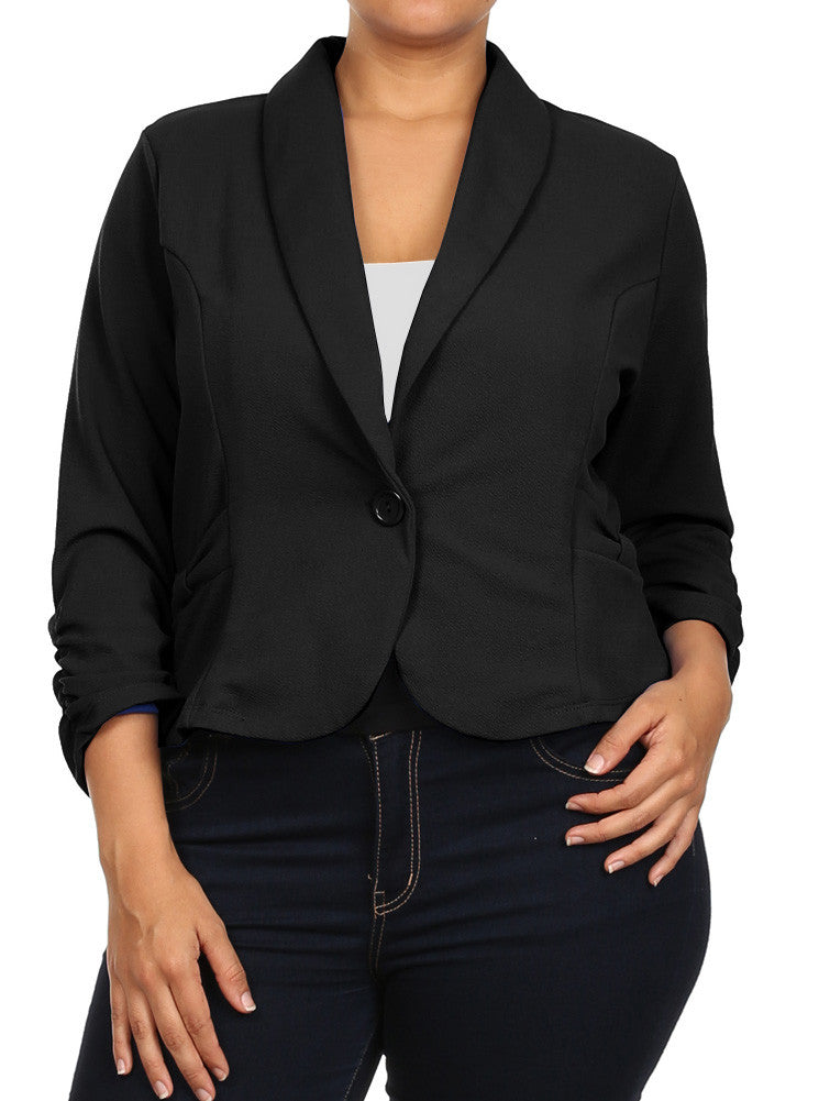 Plus Size Adorable Textured Bow Black Blazer