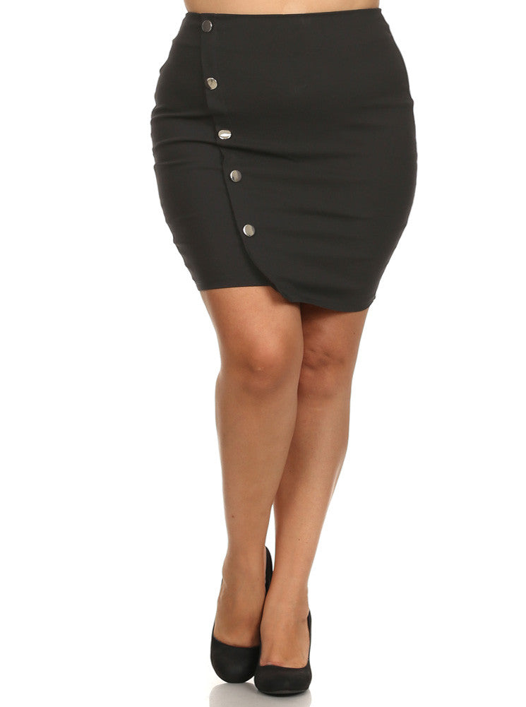 Plus Size Chic Asymmetrical Silver Buttons Skirt