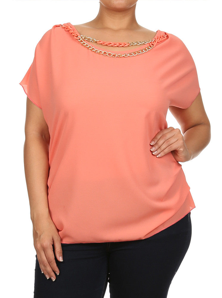 Plus Size Ravishing Chains Ruched Sheer Coral Top