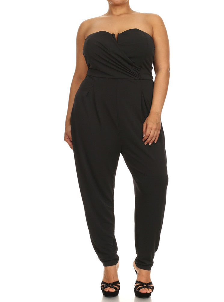 Plus Size Strapless Cross Over Black Jumpsuit