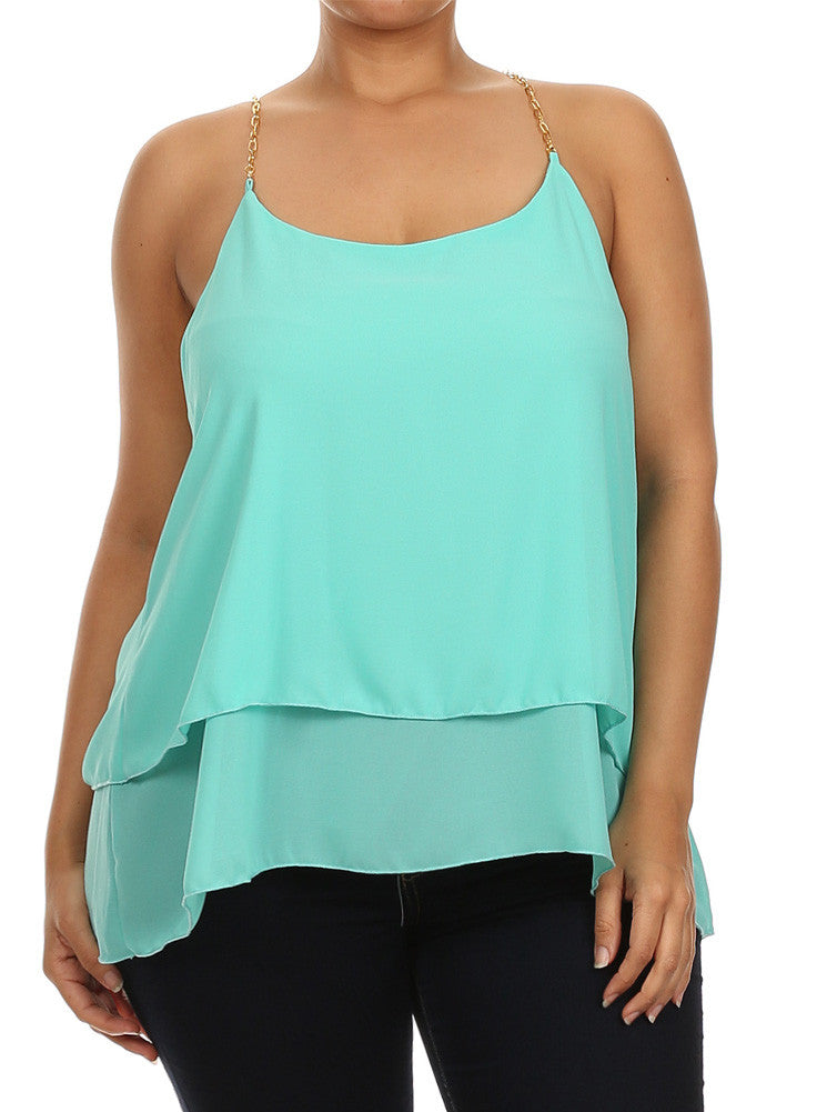 Plus Size Gold Chain Sexy Mint Cami
